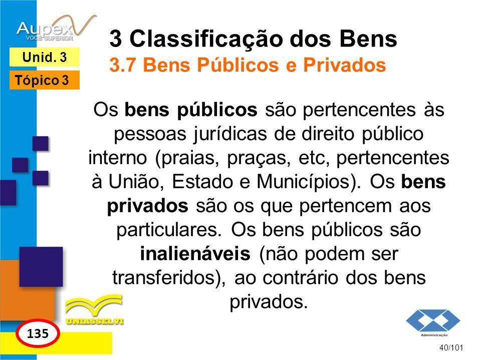 3 Classificação dos Bens 3.7 Bens Públicos e Privados
