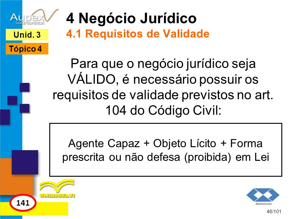4 Negócio Jurídico 4.1 Requisitos de Validade