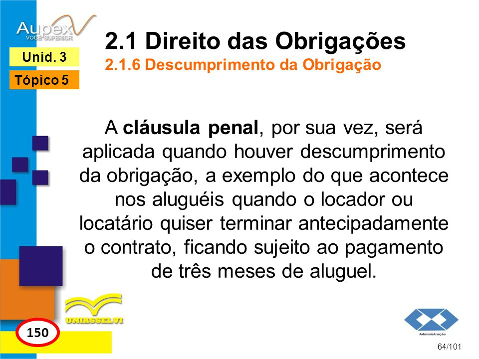 2.1 Direito das Obrigações 2.1.6 Descumprimento da Obrigação