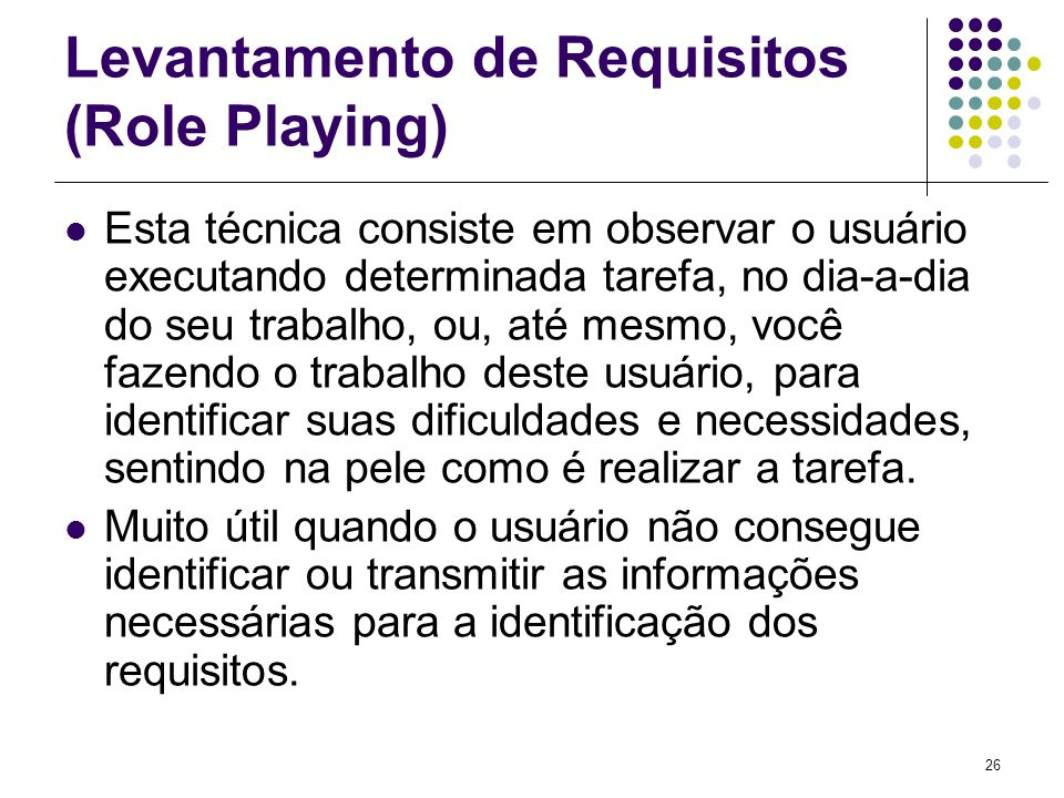 Levantamento de Requisitos (Role Playing)