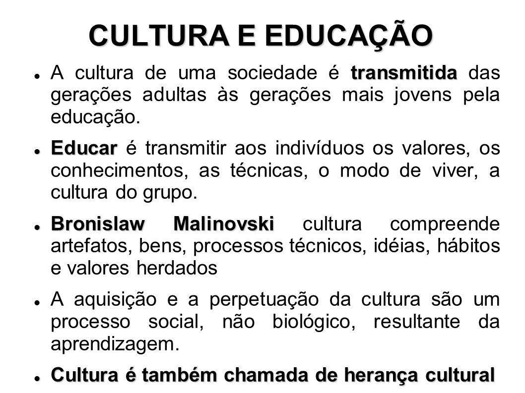 CULTURA E EDUCAÇÃO A cultura de uma sociedade é transmitida das gerações adultas às gerações mais jovens pela educação.