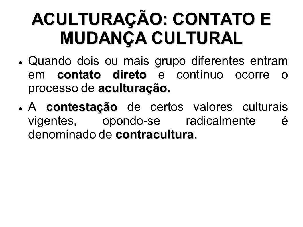 ACULTURAÇÃO: CONTATO E MUDANÇA CULTURAL
