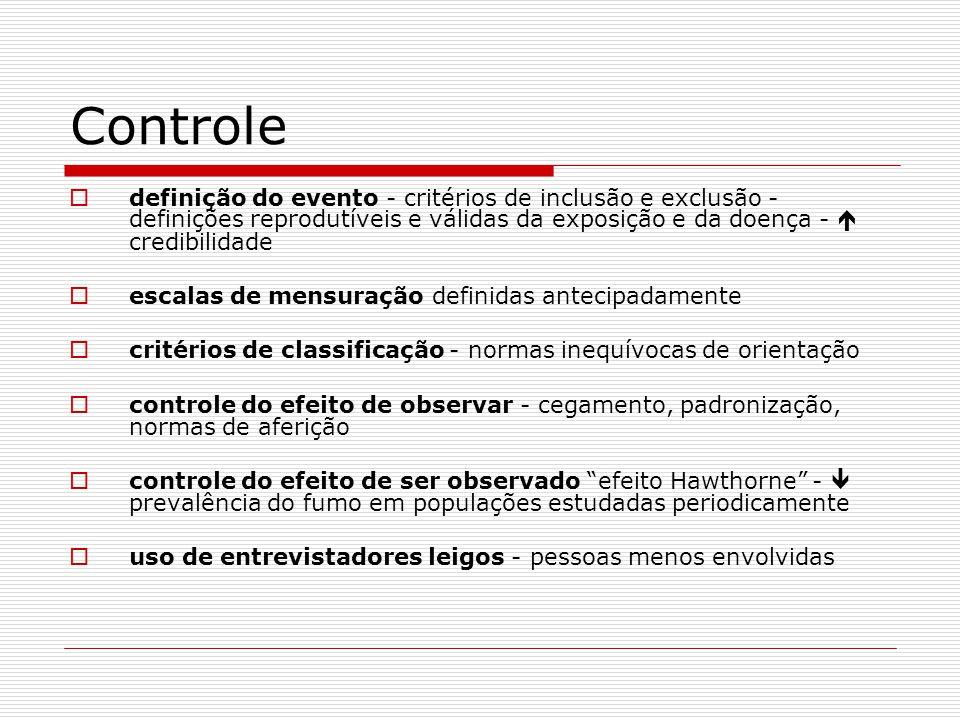 Controle definição do evento - critérios de inclusão e exclusão - definições reprodutíveis e válidas da exposição e da doença -  credibilidade.