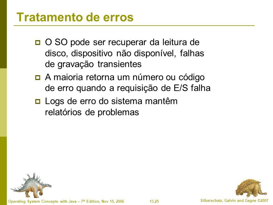 Tratamento de erros O SO pode ser recuperar da leitura de disco, dispositivo não disponível, falhas de gravação transientes.