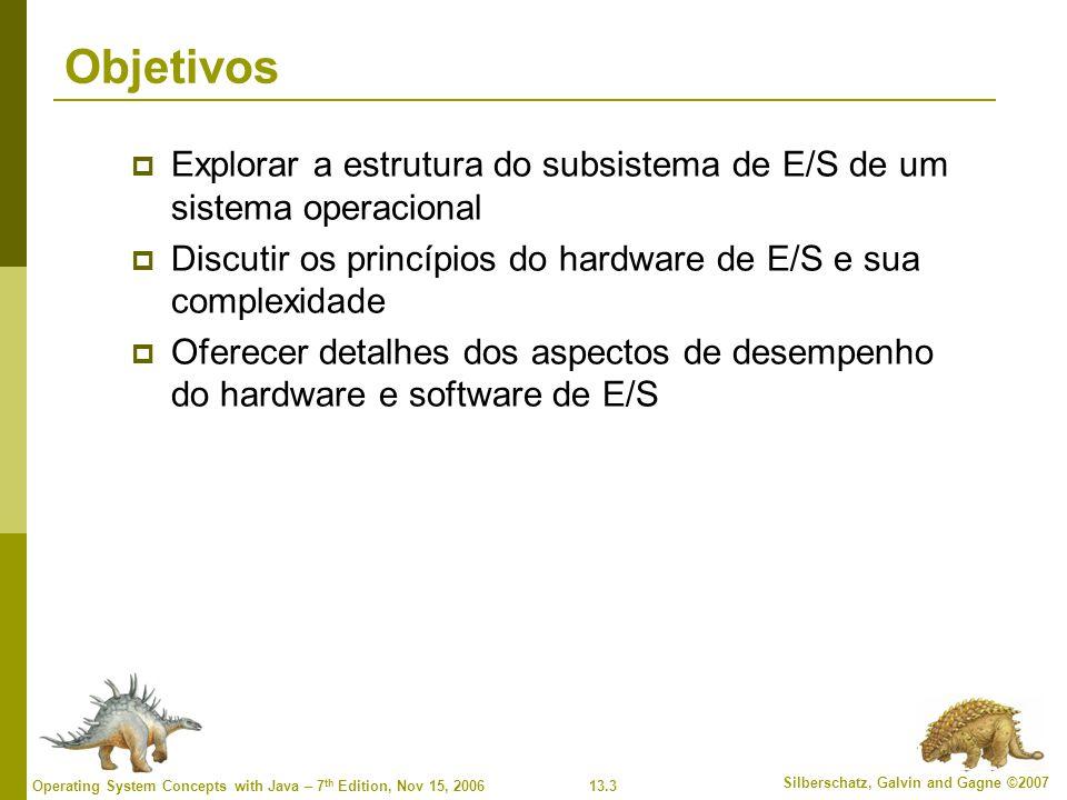 Objetivos Explorar a estrutura do subsistema de E/S de um sistema operacional. Discutir os princípios do hardware de E/S e sua complexidade.