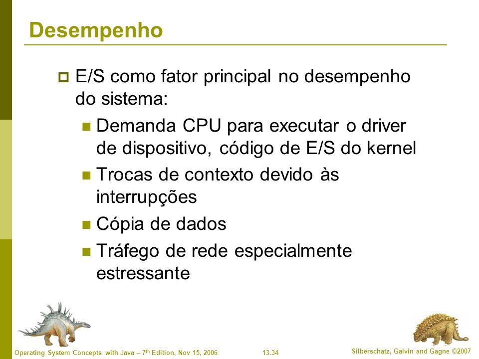 Desempenho E/S como fator principal no desempenho do sistema:
