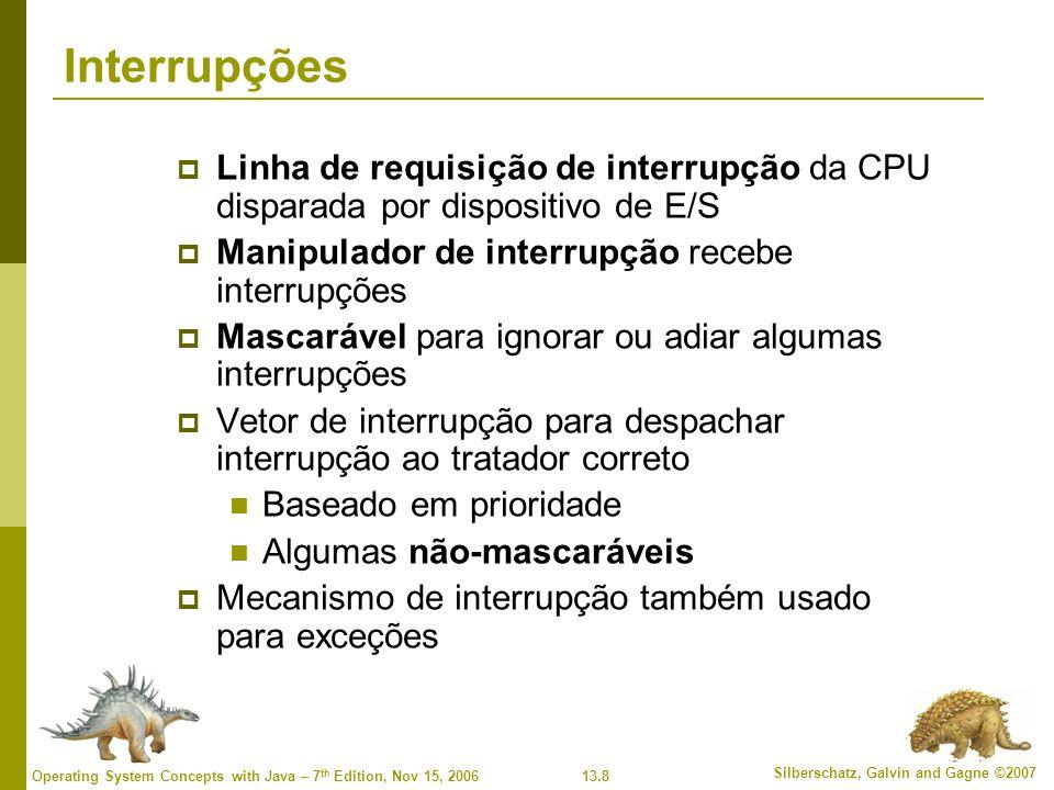 Interrupções Linha de requisição de interrupção da CPU disparada por dispositivo de E/S. Manipulador de interrupção recebe interrupções.