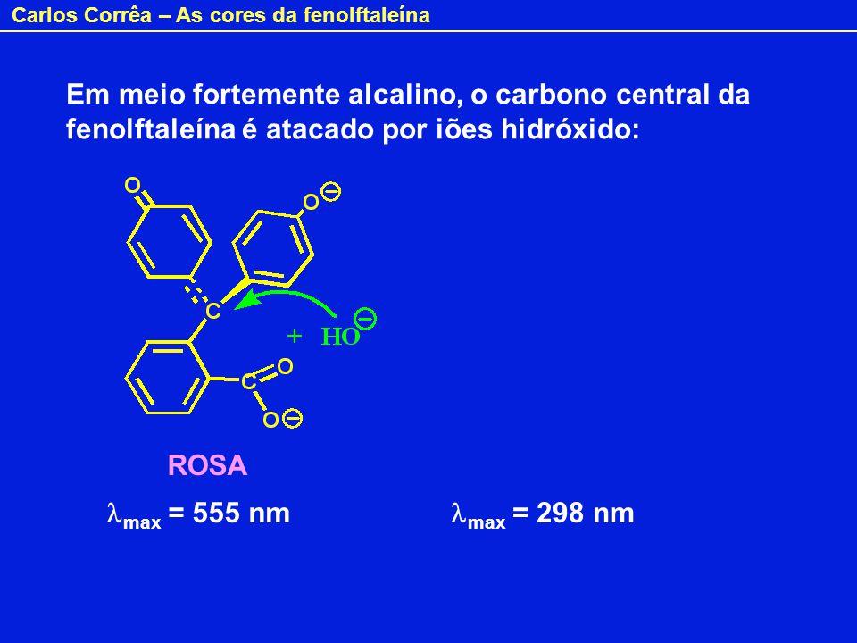 Em meio fortemente alcalino, o carbono central da fenolftaleína é atacado por iões hidróxido: