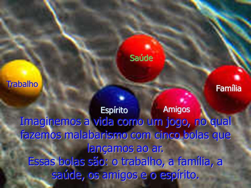 Saúde Trabalho. Família. Espírito. Amigos. Imaginemos a vida como um jogo, no qual fazemos malabarismo com cinco bolas que lançamos ao ar.