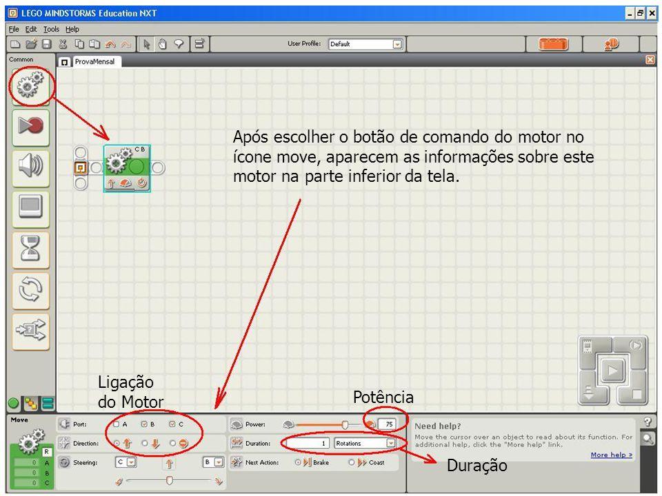 Após escolher o botão de comando do motor no ícone move, aparecem as informações sobre este motor na parte inferior da tela.