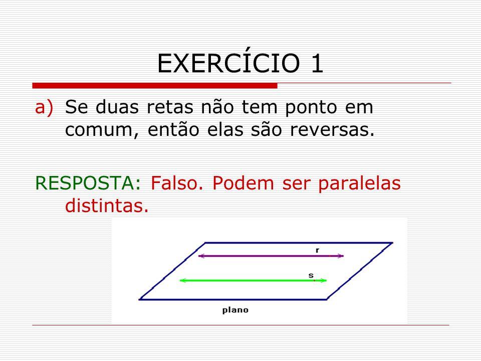 EXERCÍCIO 1 Se duas retas não tem ponto em comum, então elas são reversas.