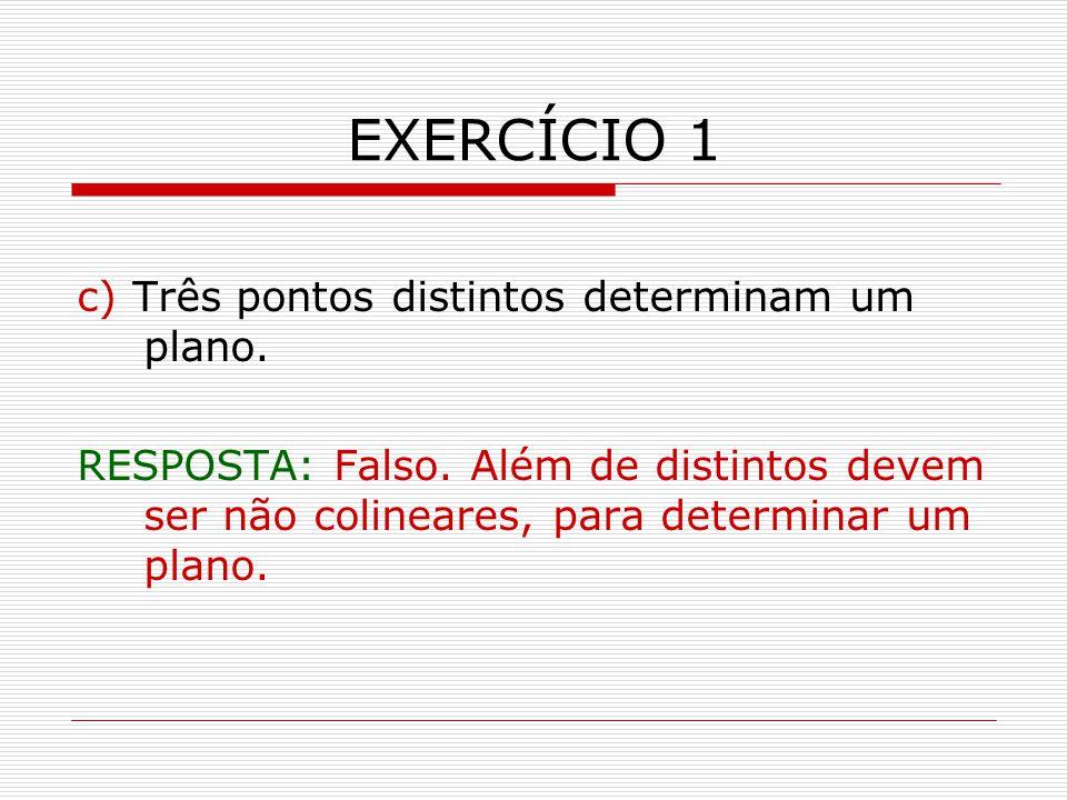 EXERCÍCIO 1 c) Três pontos distintos determinam um plano.