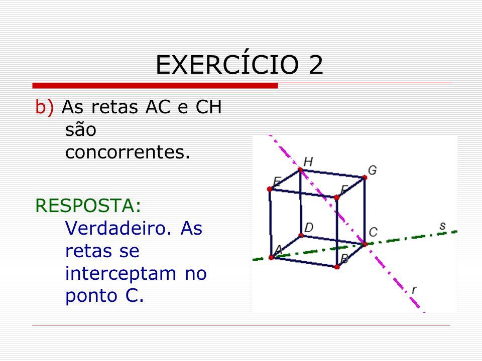 EXERCÍCIO 2 b) As retas AC e CH são concorrentes.