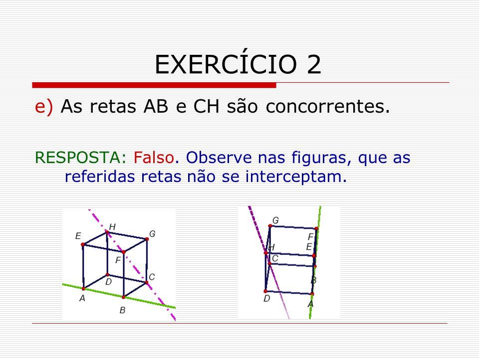 EXERCÍCIO 2 e) As retas AB e CH são concorrentes.