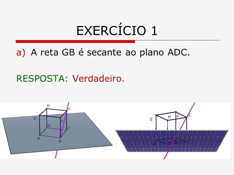 EXERCÍCIO 1 A reta GB é secante ao plano ADC. RESPOSTA: Verdadeiro.