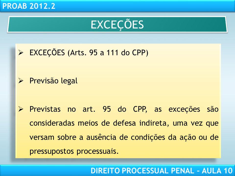 EXCEÇÕES EXCEÇÕES (Arts. 95 a 111 do CPP) Previsão legal
