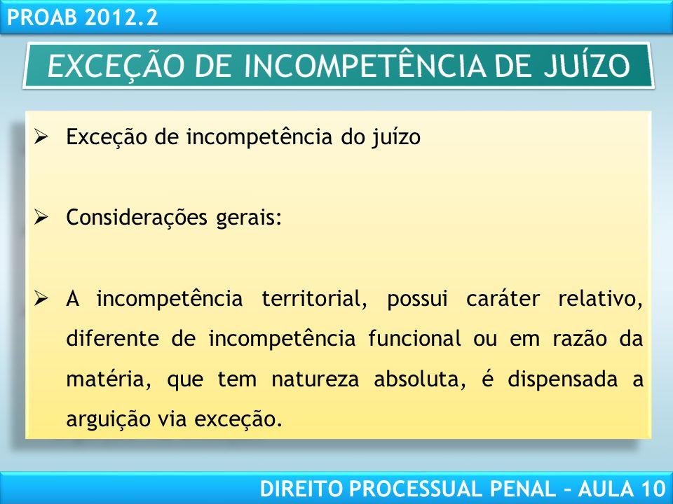 EXCEÇÃO DE INCOMPETÊNCIA DE JUÍZO