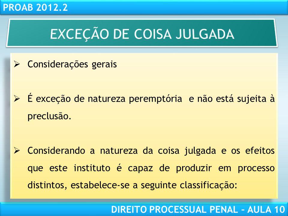 EXCEÇÃO DE COISA JULGADA