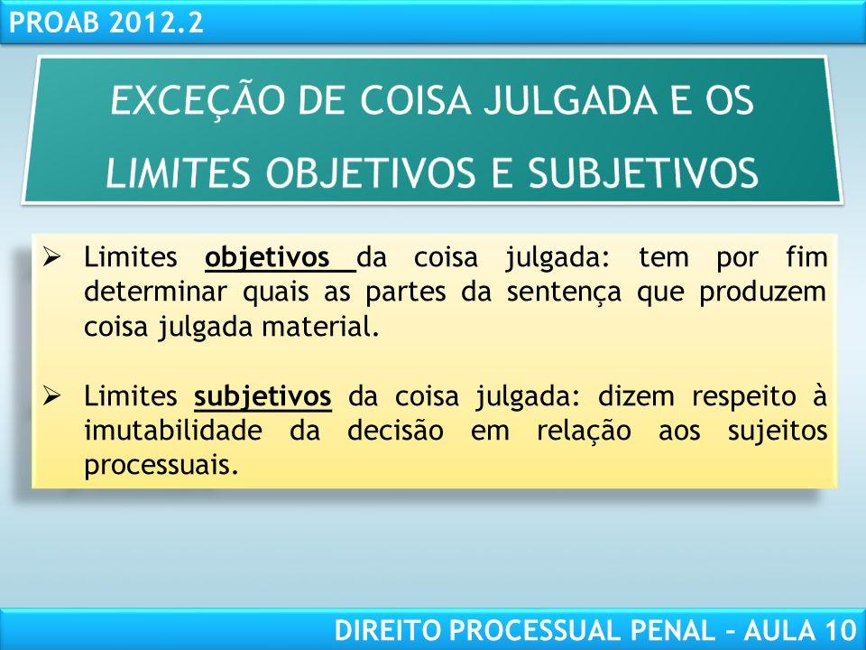 EXCEÇÃO DE COISA JULGADA E OS LIMITES OBJETIVOS E SUBJETIVOS