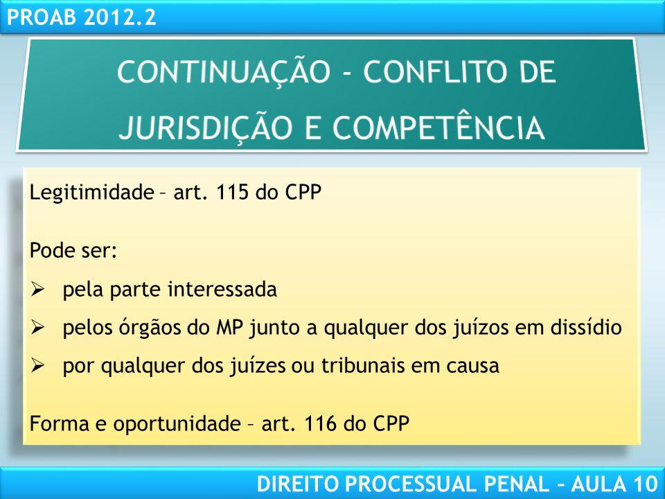 CONTINUAÇÃO - CONFLITO DE JURISDIÇÃO E COMPETÊNCIA
