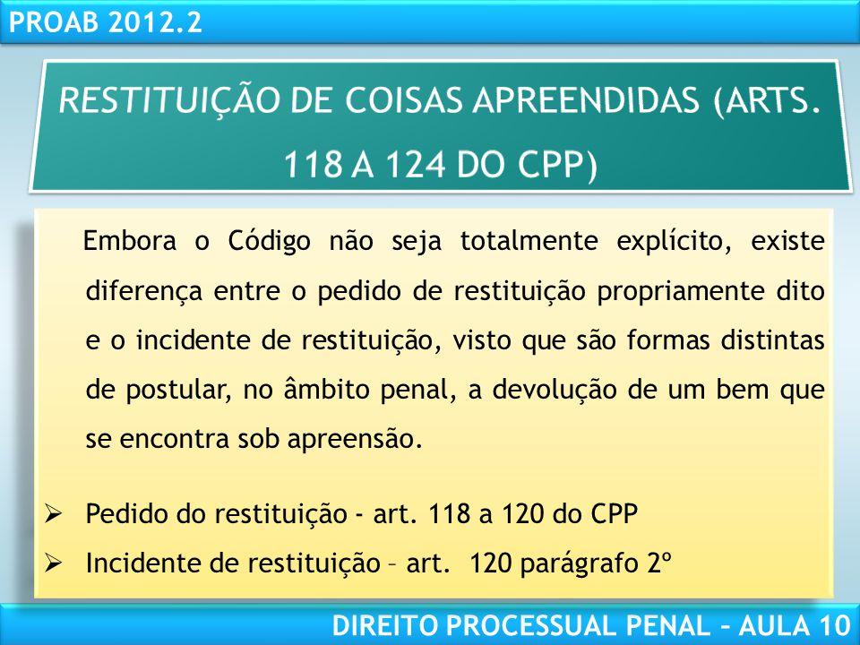 RESTITUIÇÃO DE COISAS APREENDIDAS (ARTS. 118 A 124 DO CPP)