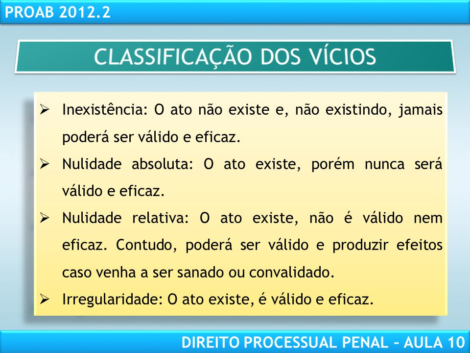 CLASSIFICAÇÃO DOS VÍCIOS