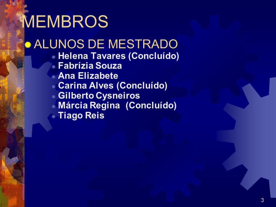 MEMBROS ALUNOS DE MESTRADO Helena Tavares (Concluído) Fabrízia Souza
