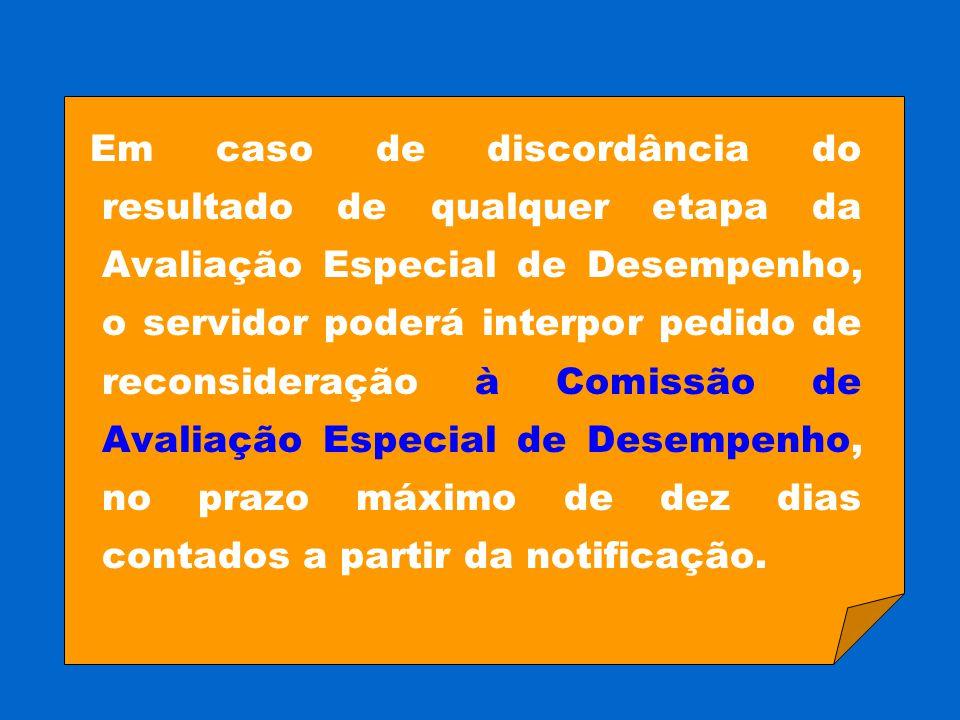 Em caso de discordância do resultado de qualquer etapa da Avaliação Especial de Desempenho, o servidor poderá interpor pedido de reconsideração à Comissão de Avaliação Especial de Desempenho, no prazo máximo de dez dias contados a partir da notificação.
