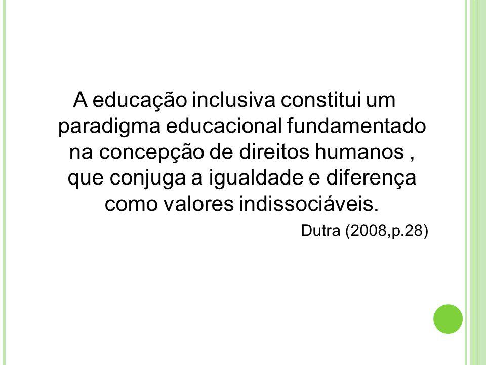 A educação inclusiva constitui um paradigma educacional fundamentado na concepção de direitos humanos , que conjuga a igualdade e diferença como valores indissociáveis.