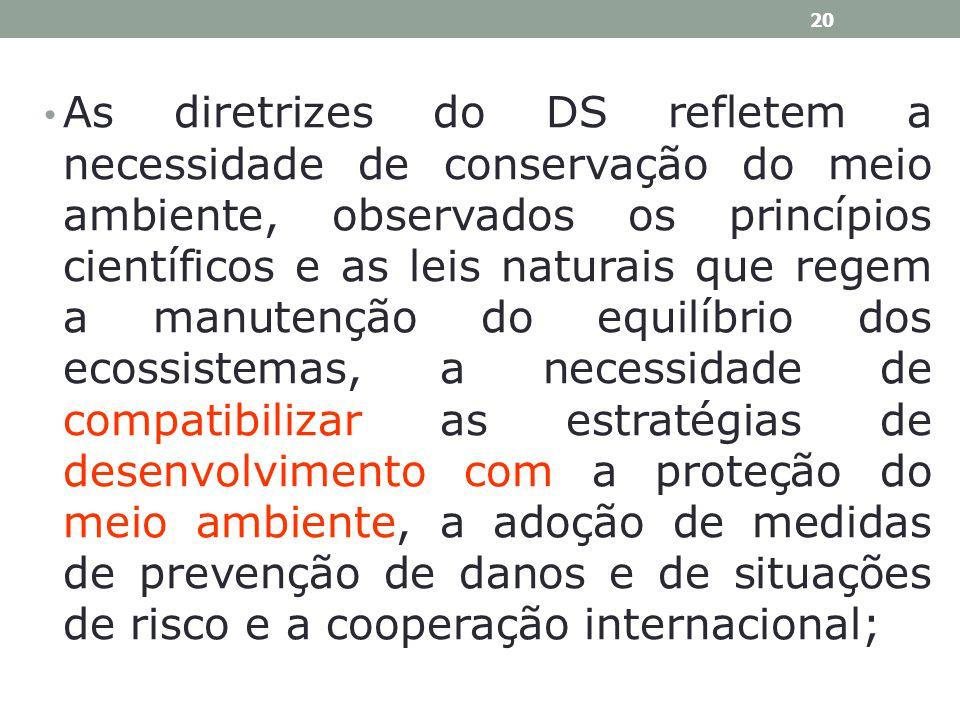 As diretrizes do DS refletem a necessidade de conservação do meio ambiente, observados os princípios científicos e as leis naturais que regem a manutenção do equilíbrio dos ecossistemas, a necessidade de compatibilizar as estratégias de desenvolvimento com a proteção do meio ambiente, a adoção de medidas de prevenção de danos e de situações de risco e a cooperação internacional;