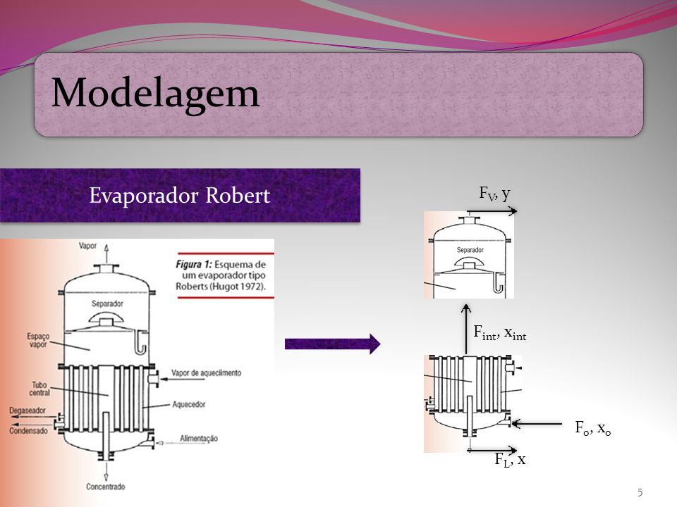 Modelagem Evaporador Robert FV, y Fint, xint Fo, xo FL, x