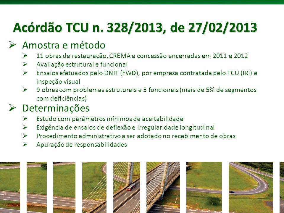 Acórdão TCU n. 328/2013, de 27/02/2013 Amostra e método Determinações
