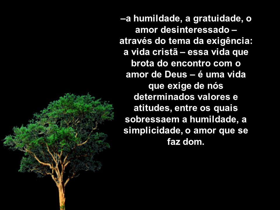 –a humildade, a gratuidade, o amor desinteressado – através do tema da exigência: a vida cristã – essa vida que brota do encontro com o amor de Deus – é uma vida que exige de nós determinados valores e atitudes, entre os quais sobressaem a humildade, a simplicidade, o amor que se faz dom.