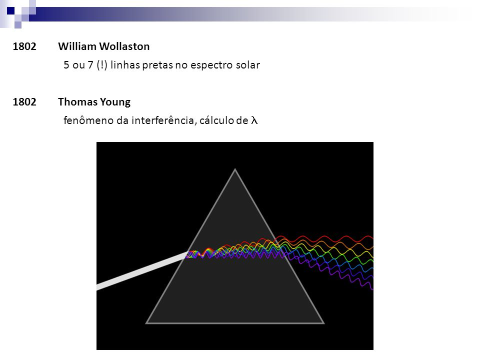 1802 William Wollaston 5 ou 7 (!) linhas pretas no espectro solar.