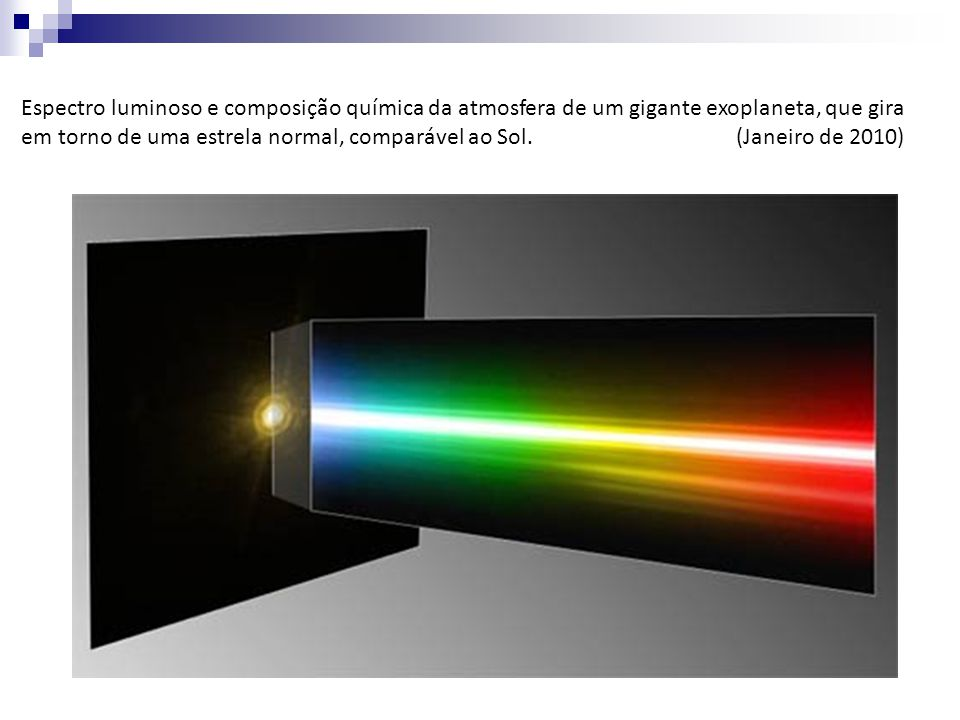 Espectro luminoso e composição química da atmosfera de um gigante exoplaneta, que gira em torno de uma estrela normal, comparável ao Sol. (Janeiro de 2010)