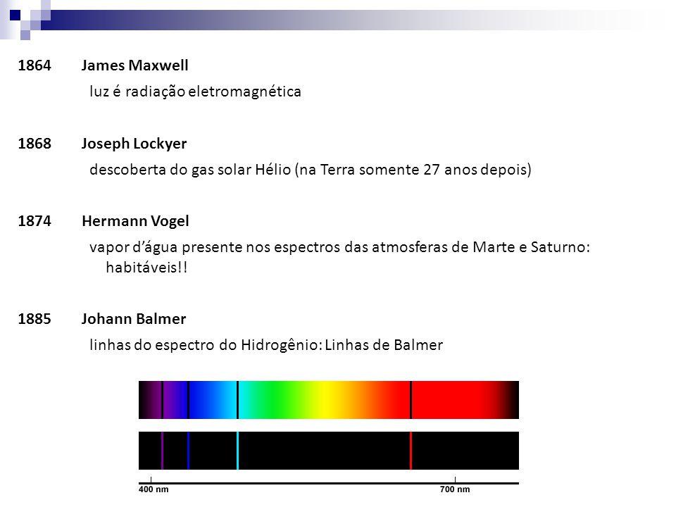 1864 James Maxwell luz é radiação eletromagnética. 1868 Joseph Lockyer. descoberta do gas solar Hélio (na Terra somente 27 anos depois)