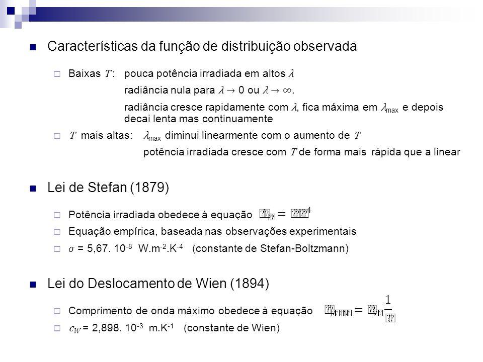 Características da função de distribuição observada