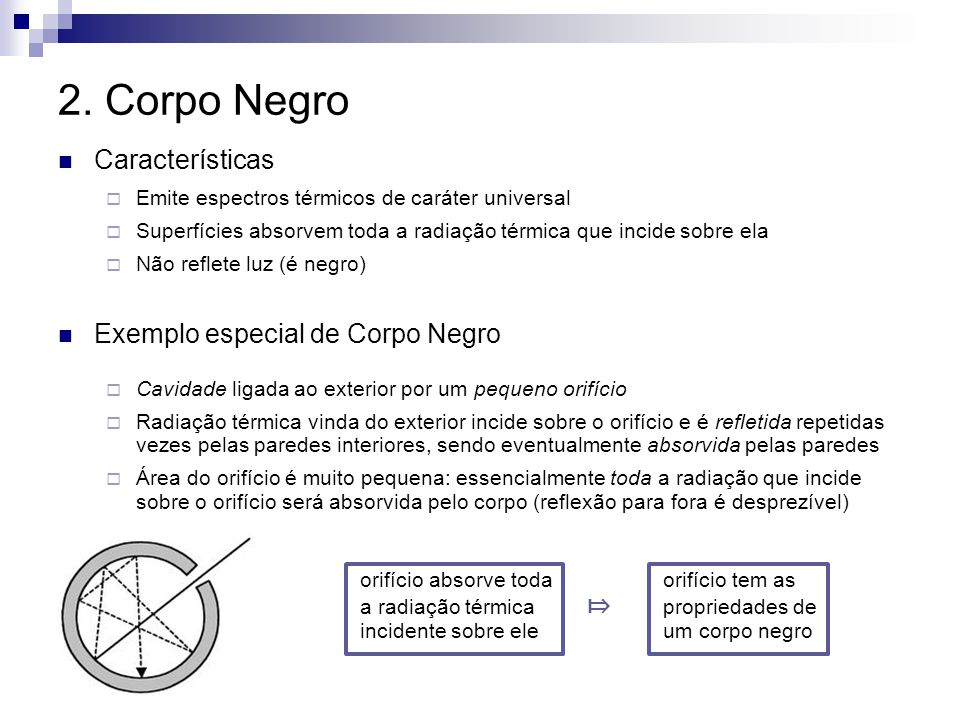 2. Corpo Negro Características Exemplo especial de Corpo Negro