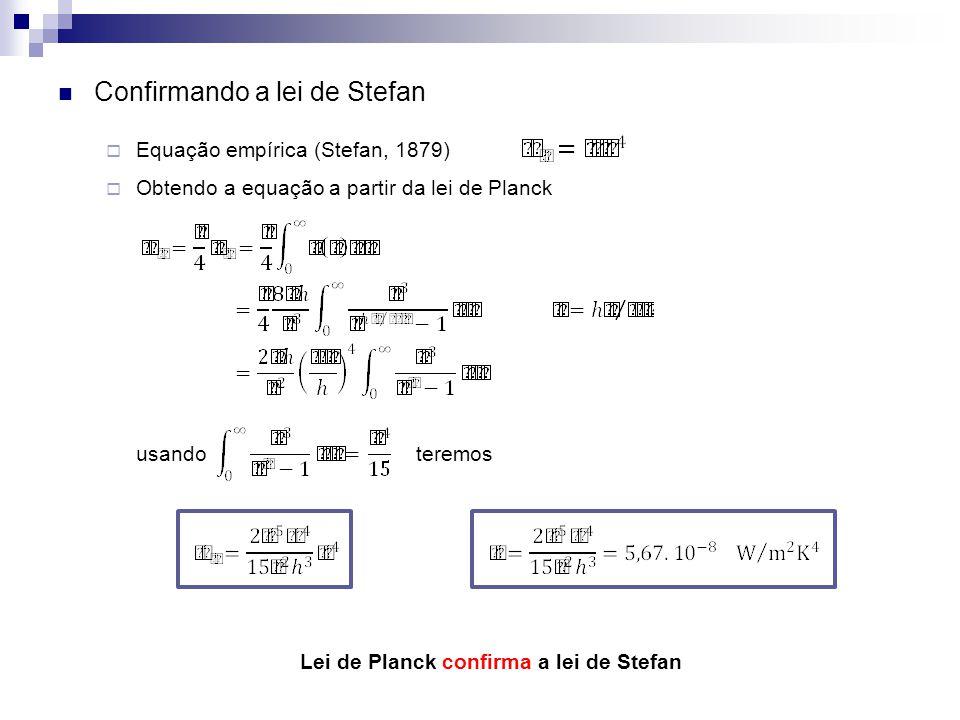 Lei de Planck confirma a lei de Stefan