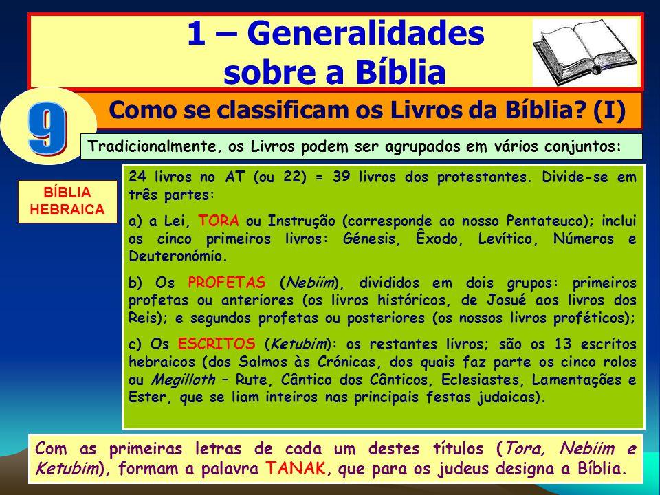 Como se classificam os Livros da Bíblia (I)
