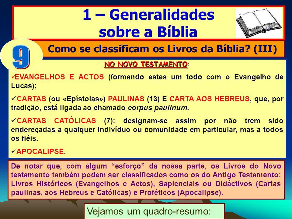 Como se classificam os Livros da Bíblia (III)