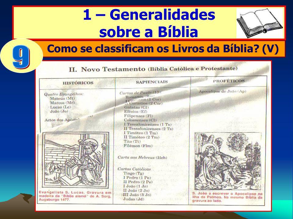 Como se classificam os Livros da Bíblia (V)