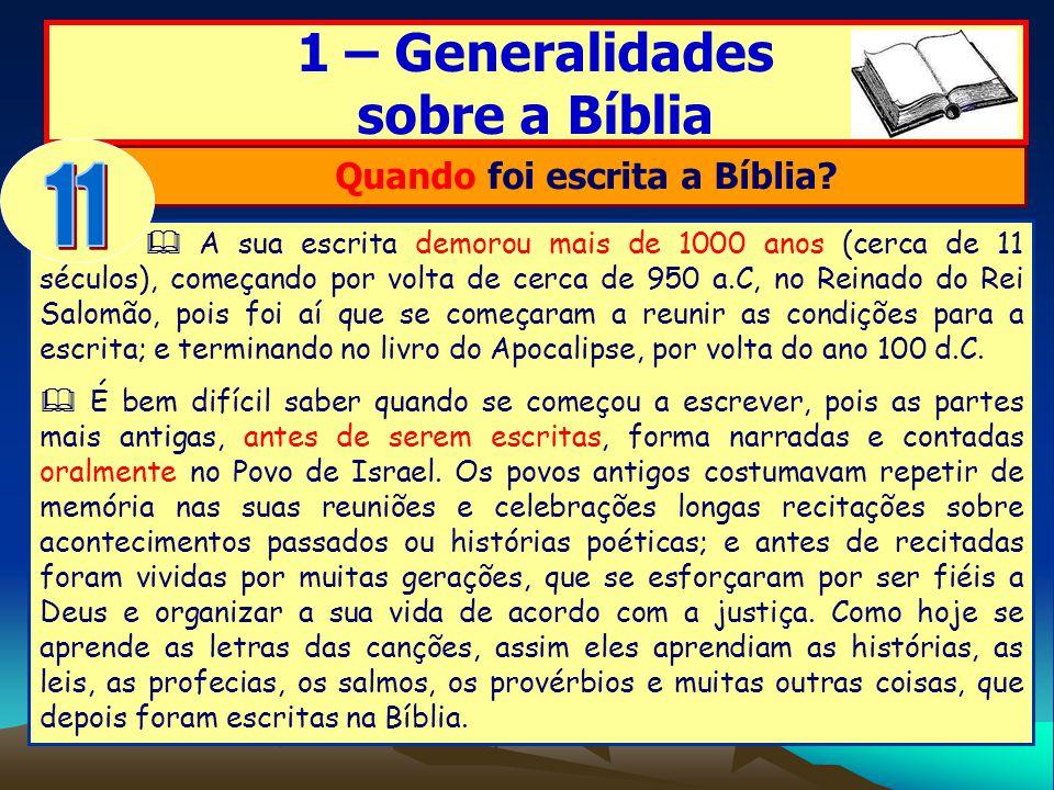 Quando foi escrita a Bíblia