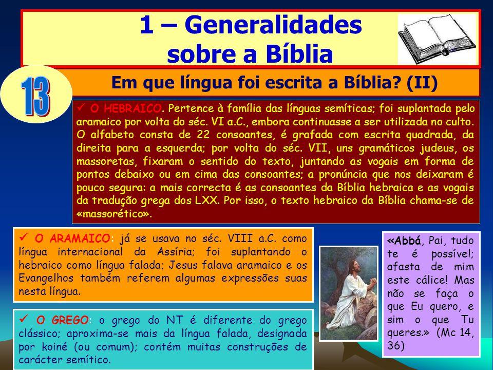 Em que língua foi escrita a Bíblia (II)