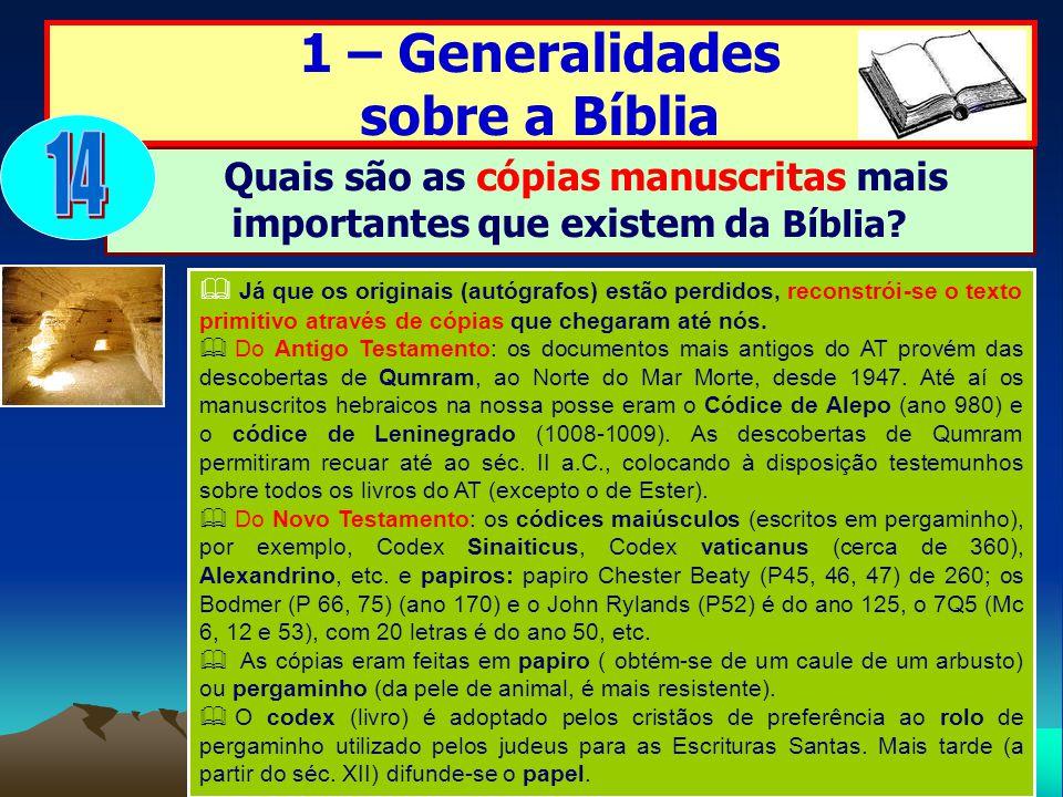 14 1 – Generalidades sobre a Bíblia