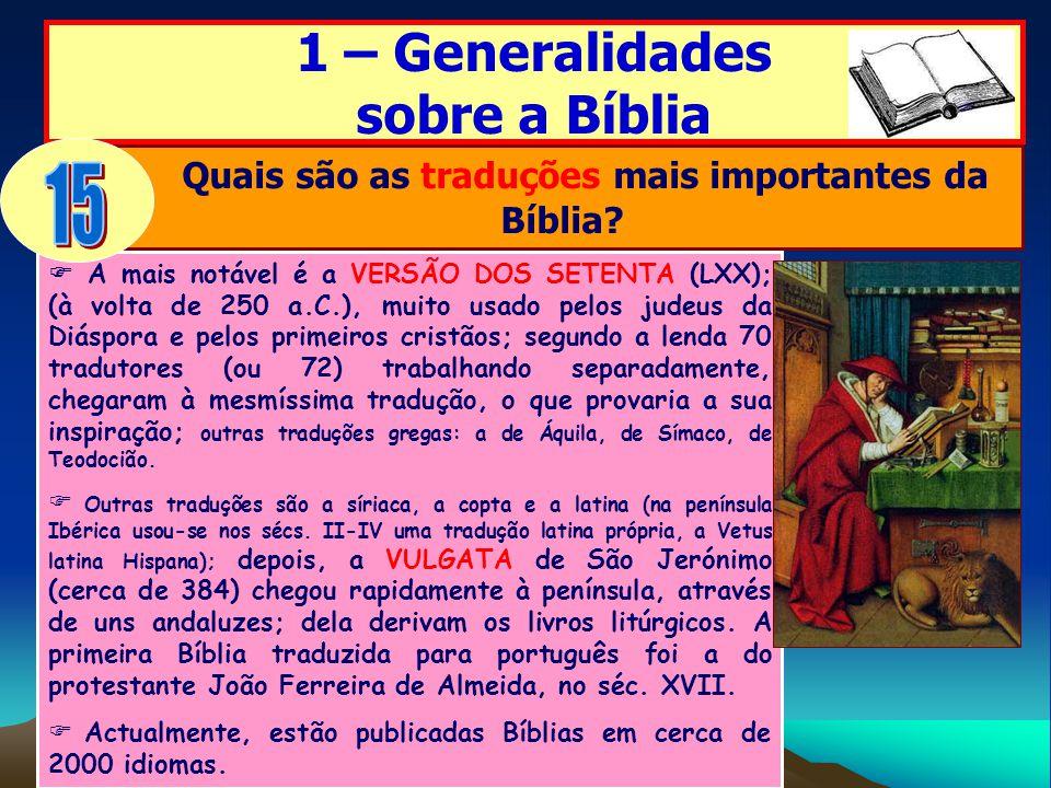 Quais são as traduções mais importantes da Bíblia