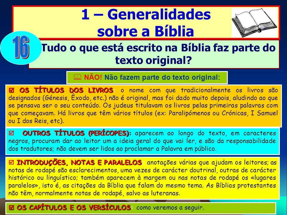 16 1 – Generalidades sobre a Bíblia
