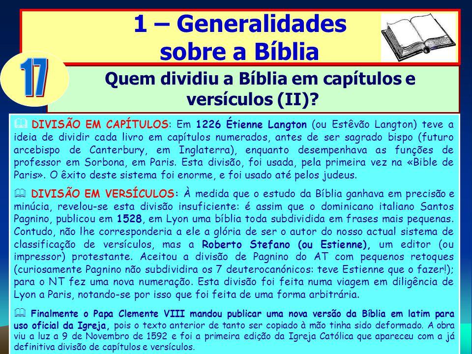 Quem dividiu a Bíblia em capítulos e versículos (II)