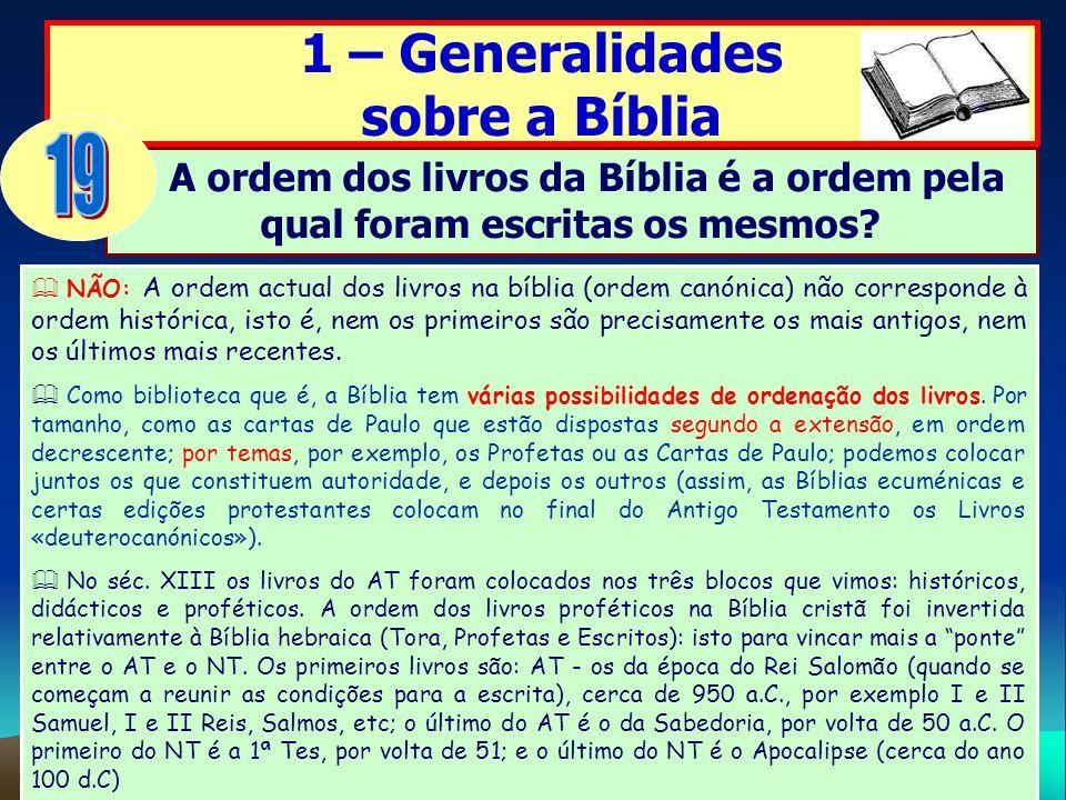 19 1 – Generalidades sobre a Bíblia