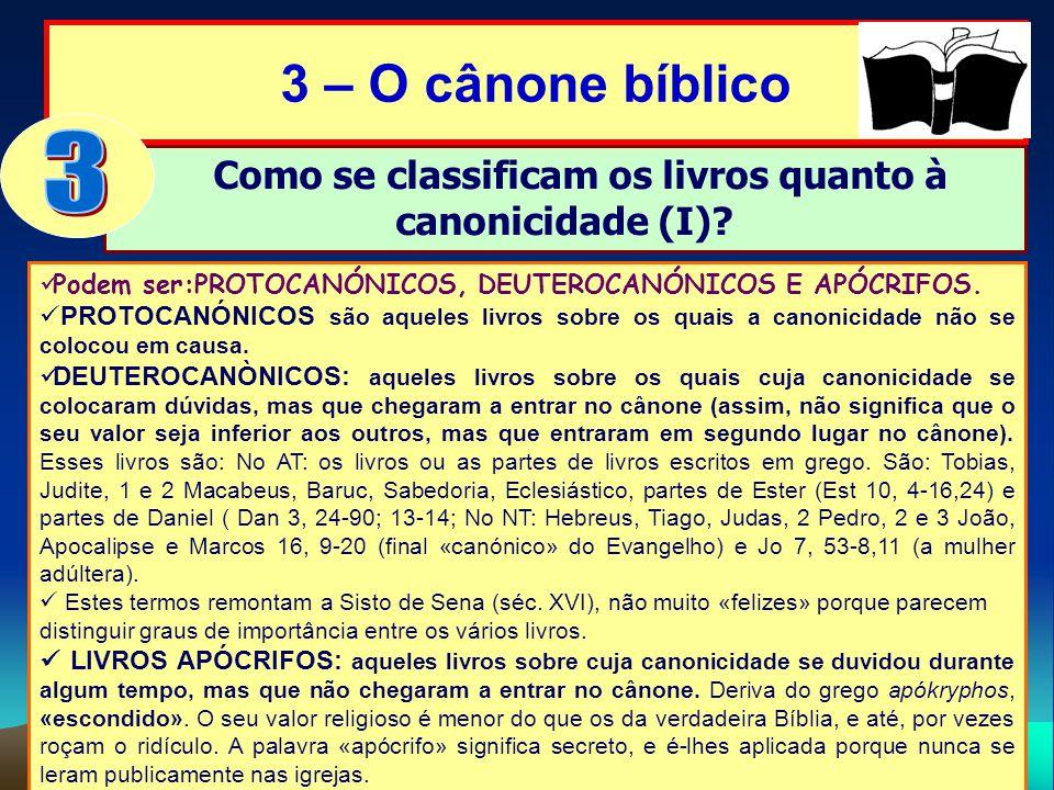 Como se classificam os livros quanto à canonicidade (I)